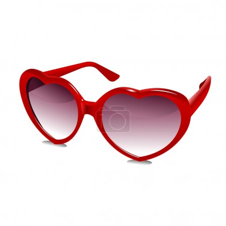 Illustration of a pair of red heart shaped sunglas...