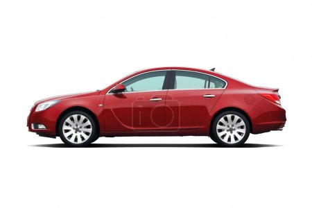Photo for Cherry red business sedan isolated on white - Royalty Free Image