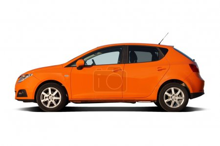 Photo for Bright orange compact family hatchback isolated on white - Royalty Free Image