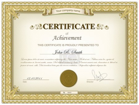 Illustration for Vector illustration of gold detailed certificate - Royalty Free Image