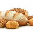 Composition with bread and rolls isolated on white...