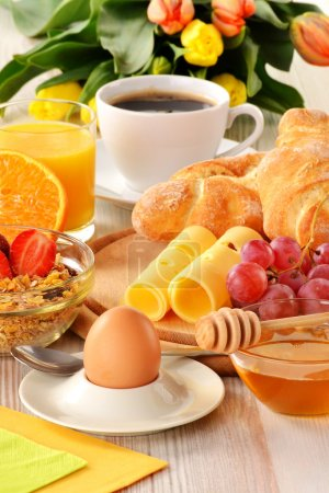 Photo for Composition with breakfast on the table - Royalty Free Image