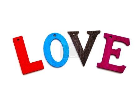 Photo pour Mot d'amour formé avec lettre colorée sur fond neutre - image libre de droit