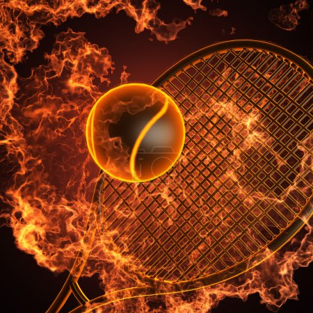 Tennis racket in fire