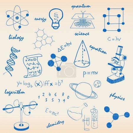 Photo pour Icônes scientifiques dessinées à la main - image libre de droit