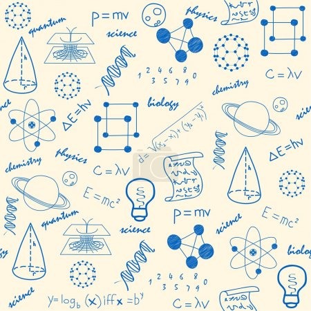 Photo for Hand drawn seamless science icons changeable background vector eps10 - Royalty Free Image