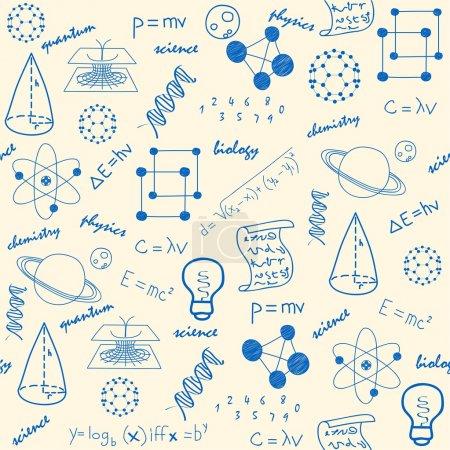 Illustration pour Icônes scientifiques sans couture dessinées à la main vecteur de fond changeable eps10 - image libre de droit