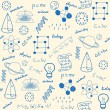 Hand drawn seamless science icons changeable backg...