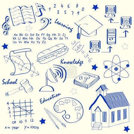 Photo pour Ensemble d'icônes scolaires dessinées à la main vecteur eps10 - image libre de droit