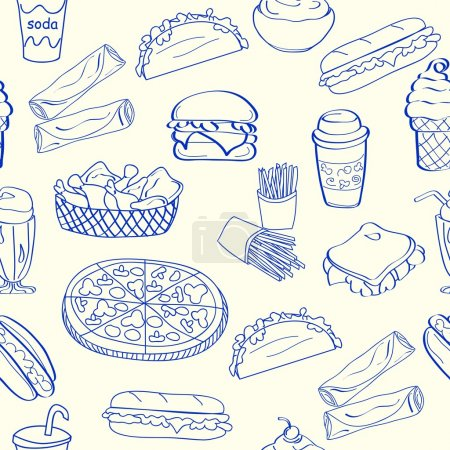 Illustration for Hand drawn seamless fast food icons vector eps10 - Royalty Free Image