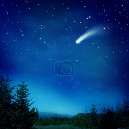 Photo for Falling star at night - Royalty Free Image