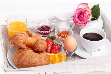 Photo for Breakfast with coffee,orange juice and croissant - Royalty Free Image