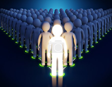 Photo for 3d Luminous man. Leadership. First in a pyramid - Royalty Free Image