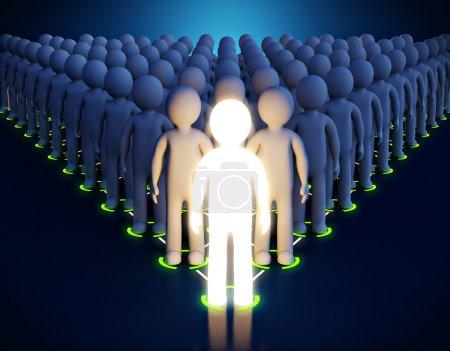 Photo pour 3d Homme lumineux. Leadership. Premier dans une pyramide - image libre de droit