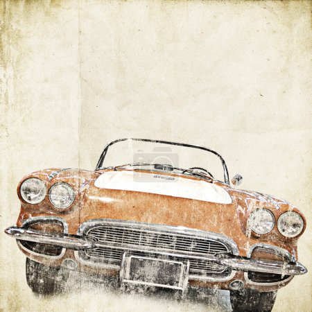 Photo for Retro background with old car - Royalty Free Image