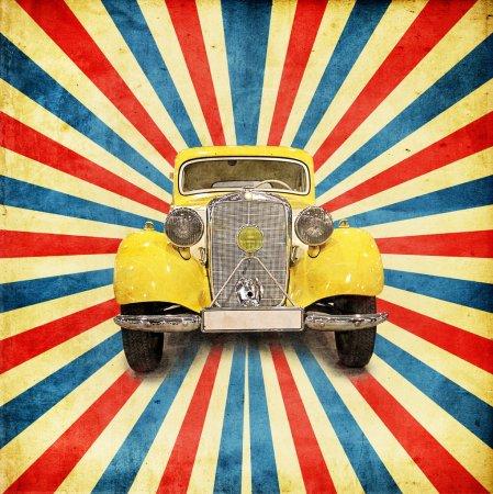 Photo pour Vintage fond avec voiture rétro - image libre de droit