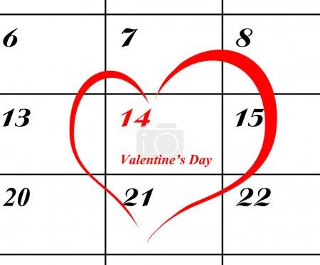 Página de calendario con un detalle del día de San Valentín