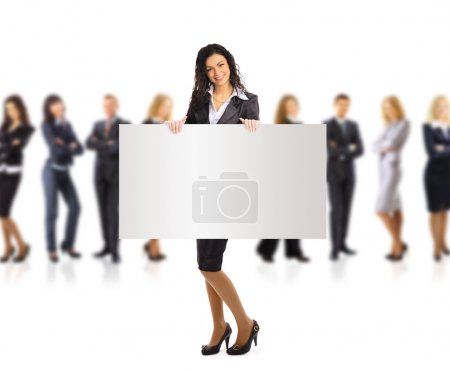 Business woman and group holding a banner ad, full length portrait isolated on white background.
