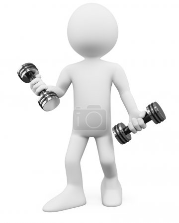 Photo for 3D Man - Fitness. Rendered at high resolution on a white background with diffuse shadows. - Royalty Free Image