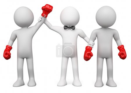 3D Boxing Referee choosing the winner between two boxers