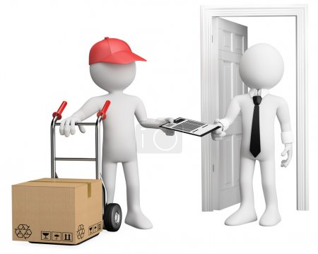 3D worker delivering a package