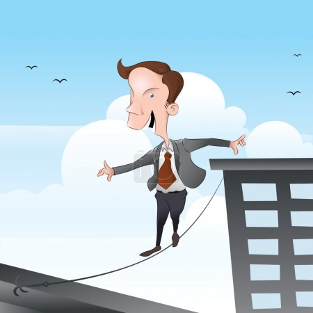 Illustration for A businessman crossing to other building using tightrope. Fully editable EPS file format. - Royalty Free Image