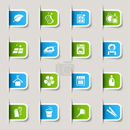 """Illustration for 16 """"cleaning and household"""" internet icons set - Royalty Free Image"""