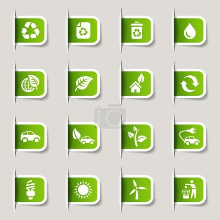 "Illustration for 16 ""ecological and recycling"" internet icons set - Royalty Free Image"
