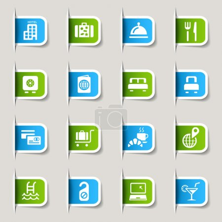 "Illustration for 16 ""hotel and resort"" icons set - Royalty Free Image"