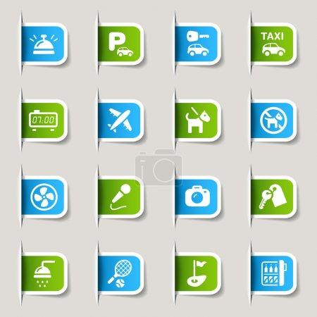 """Foto de 16 iconos """"de hoteles y resorts"""" establecer - Imagen libre de derechos"""