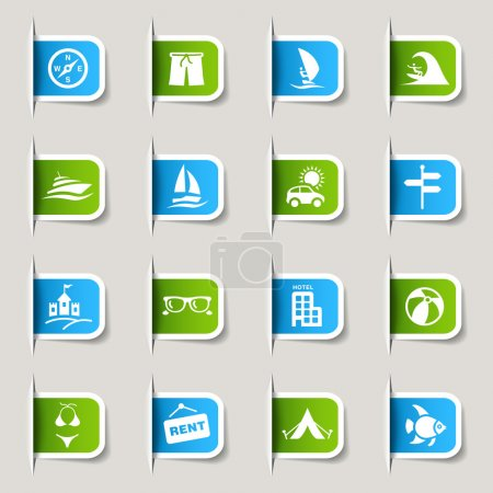 "Photo for 16 ""vacation and travel"" icons set - Royalty Free Image"