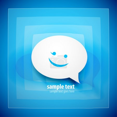 Illustration for Paper speech bubble on blue background with happy emoticon - Royalty Free Image
