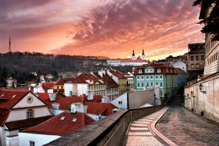 Panorama of the Old Town in Prague in sunset (Czech Republic)