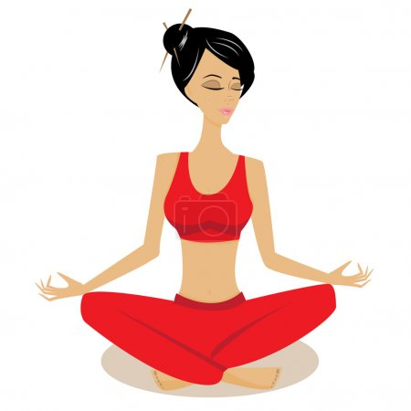 Illustration for Vector illustration of meditation pretty woman - Royalty Free Image