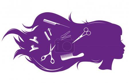 Illustration pour Salon de coiffure. Illustration vectorielle de fille aux cheveux longs . - image libre de droit
