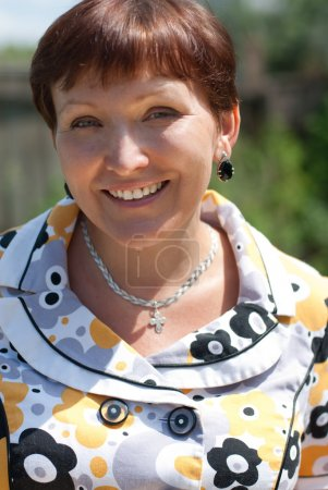 Photo pour Portrait de femme d'âge mûr heureuse souriant - image libre de droit