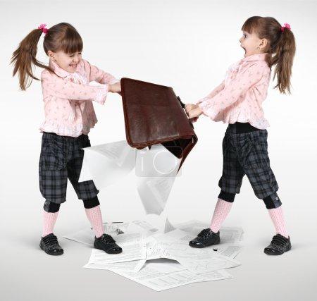 Little twin girls fighting