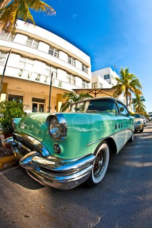 Midday view at ocean drive to the art deco buildings in Miami so