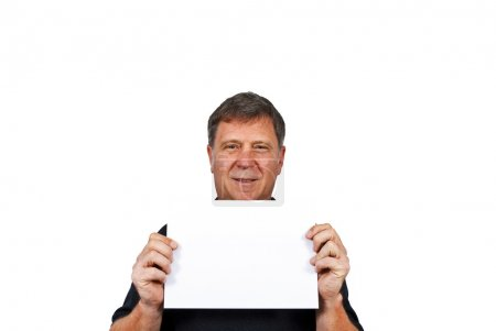 Photo pour Homme intelligent tenant une affiche vide dans sa main - image libre de droit