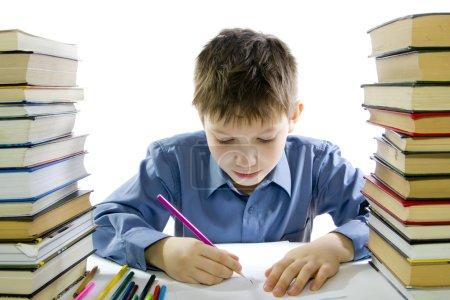 Boy making the homework