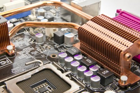 Copper cooling system on the PC motherboard