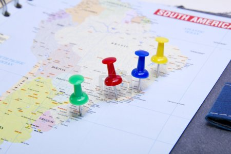 Planning business trip with pushpins