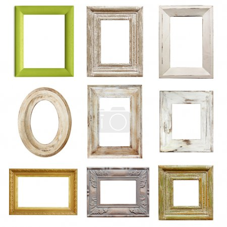 Photo for Collection of shabby chic distressed picture frames, isolated. - Royalty Free Image