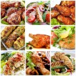 Collage of chicken dishes. Includes honey soy chic...