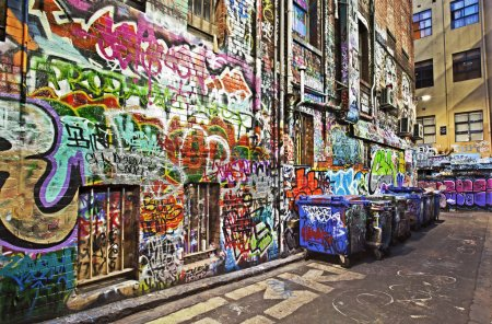 Photo for Grunge alley covered in graffiti. Hosier Lane, Melbourne, Australia. HDR effects. - Royalty Free Image