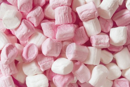 Pink and White Marshmallows Full Frame