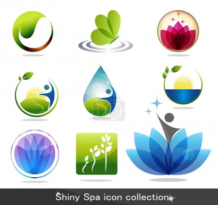 Illustration for Beautiful spa icon collection, butterfly, flowers, foliage, drop and plant. Beautiful harmonic colors, can be used as company logo. - Royalty Free Image
