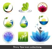 Beautiful spa icon collection butterfly flowers foliage drop and plant Beautiful harmonic colors can be used as company logo