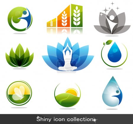 Illustration for Beautiful nature and health icon collection - Royalty Free Image