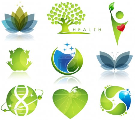 Illustration for Stunning wellness, health-care, and ecology symbols. Beautiful harmonic colors. - Royalty Free Image